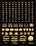 Corona, colección del vector, oro stock de ilustración