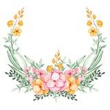 Corona con i fiori dell'acquerello e le foglie verdi rosa e gialli illustrazione di stock