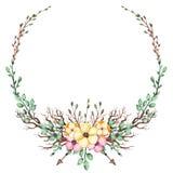 Corona con i fiori dell'acquerello, le foglie e le frecce gialli e rosa illustrazione vettoriale
