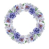 Corona con i fiori e le foglie dell'acquerello immagine stock