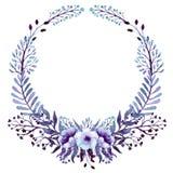 Corona con la luce Violet Leaves And Flowers dell'acquerello Fotografia Stock Libera da Diritti