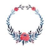 Corona con le foglie e le rose rosse del blu dell'acquerello royalty illustrazione gratis