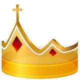 Corona cruzada real del oro Foto de archivo libre de regalías