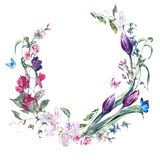 Corona d'annata con i piselli dolci, i tulipani e le farfalle illustrazione di stock