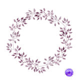 Corona d'annata del cerchio con le foglie dell'alloro Vettore dell'acquerello royalty illustrazione gratis