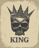 Corona d'uso del cranio disegnato a mano di re Fotografia Stock Libera da Diritti