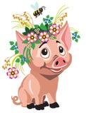 Corona d'uso del porcellino dei fiori royalty illustrazione gratis