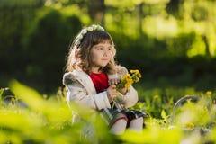 Corona d'uso della ragazza sveglia dei denti di leone e di sorridere mentre sedendosi sull'erba in parco Fotografie Stock