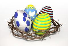 Corona de espinas con los huevos de Pascua ilustración del vector