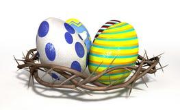 Corona de espinas con los huevos de Pascua libre illustration