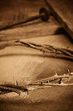 Corona de espinas, de la cruz y de clavos imagen de archivo libre de regalías