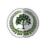 Corona de la etiqueta engomada de hojas con el conector del árbol y del enchufe Fotos de archivo libres de regalías