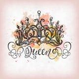 Corona de la reina con las letras Fotografía de archivo libre de regalías