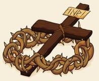 Corona de las espinas y de la cruz, ejemplo del vector Imagen de archivo libre de regalías