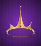 Corona de oro del vector con los diamantes brillantes Fotografía de archivo libre de regalías