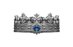 Corona de plata con las joyas aisladas en blanco imagenes de archivo