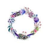 Corona dei fiori dell'acquerello Fotografie Stock