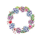 Corona dei fiori dell'acquerello Fotografia Stock Libera da Diritti