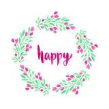 Corona dei fiori dell'acquerello Decorazione dipinta a mano della cartolina d'auguri o di nozze Giorno felice della donna illustrazione vettoriale
