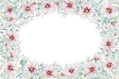 Corona dei fiori della ciliegia di rosa del fiore nello stile dell'acquerello con fondo bianco Metta del giapponese di fioritura  illustrazione vettoriale