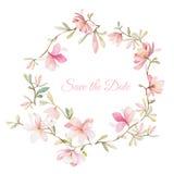 Corona dei fiori nello stile dell'acquerello su fondo bianco Immagine Stock Libera da Diritti