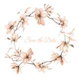 Corona dei fiori nello stile dell'acquerello su fondo bianco Fotografia Stock