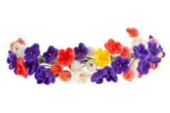Corona dei gioielli delle donne sulla testa dei fiori e delle bacche fotografia stock libera da diritti