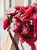 Corona dei papaveri con i nastri Fotografia Stock