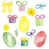 Corona dei rami di albero, carta di Pasqua dell'acquerello con le uova variopinte, con le scatole di regali, archi, isolati su fo illustrazione di stock