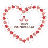 Corona del biglietto di S. Valentino con i cuori rossi ed i piccoli uccelli Fotografia Stock