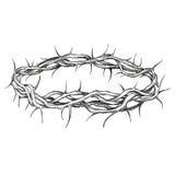 Corona del ejemplo dibujado mano religiosa del vector del símbolo de las espinas Fotografía de archivo libre de regalías