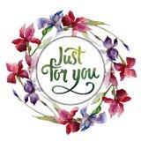 Corona del fiore dell'iride del Wildflower in uno stile dell'acquerello Fotografie Stock Libere da Diritti