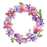 Corona del fiore della magnolia del Wildflower in uno stile dell'acquerello Fotografie Stock Libere da Diritti