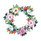 Corona del fiore del mazzo in uno stile dell'acquerello Immagine Stock