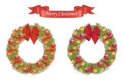 Corona del fumetto di Natale con gli elementi decorativi Fotografie Stock
