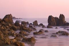 Corona del Mar au coucher du soleil Photo stock