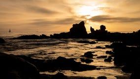 Corona Del Mar Beach Sunset Arkivbilder