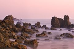 Corona del Mar bij Zonsondergang Stock Foto