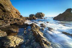 Corona Del Mar Jump Rock, la Californie Photos libres de droits