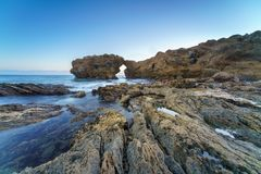 Corona Del Mar Jump Rock, la Californie Photo stock
