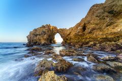 Corona Del Mar Jump Rock, la Californie Photographie stock