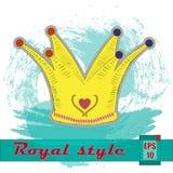 Corona del oro con el corazón Ilustración del vector Imágenes de archivo libres de regalías