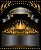 Corona del oro con las cintas Foto de archivo libre de regalías