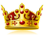 Corona del oro con las gemas rojas Fotos de archivo libres de regalías