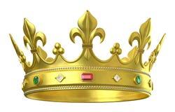 Corona del oro con las joyas Foto de archivo