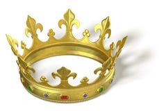 Corona del oro con las joyas Fotos de archivo libres de regalías