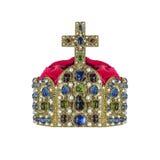 Corona del oro con las joyas imagen de archivo