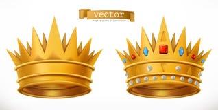 Corona del oro, rey icono del vector 3d stock de ilustración
