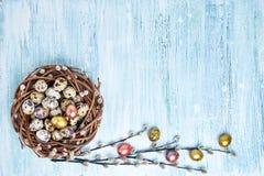 Corona del salice di Pasqua ed uova di Pasqua variopinte su fondo blu-chiaro Copi lo spazio Fotografia Stock