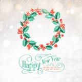 Corona del vischio di Natale Fotografia Stock
